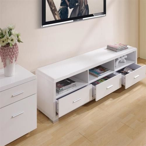 Melamine Covered Solid Wood TV Stands For Flat Screens Low Formaldehyde Emission