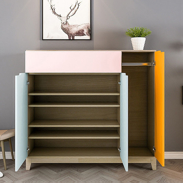 Durable Particle Board Shoe Rack , Solid Wood Shoe Cabinet Space - Saving